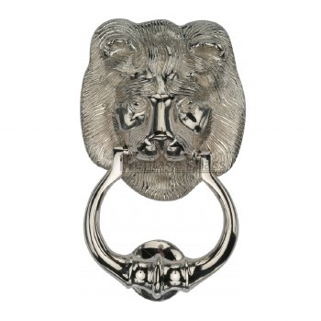 Heritage K1210 Lion Head Door Knocker Polished Nickel