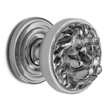 Croft 1734 Lion Head Door Knobs Polished Chrome