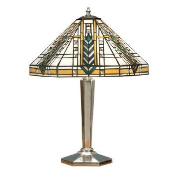 Interiors 1900 Lloyd Tiffany Table Lamp Aluminium