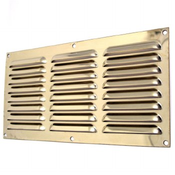 """Louvre Air Vent 12"""" x 6"""" Polished Brass Unlacquered"""