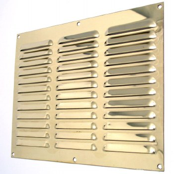 """Louvre Air Vent 12"""" x 9"""" Polished Brass Unlacquered"""
