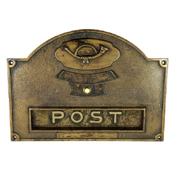 Letter Plate with Bell Push Antique Brass
