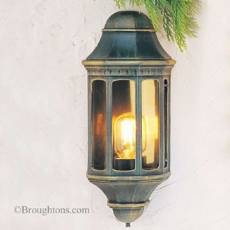 Elstead Malaga Flush Outdoor Wall Light Lantern Black Gold