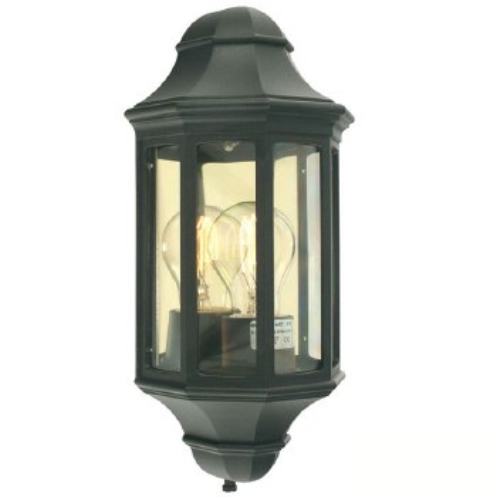 Elstead Malaga Flush Outdoor Wall Light Lantern Black
