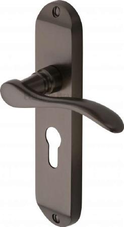 Heritage Maya Euro Lock Door Handles MAY-7648 Matt Bronze