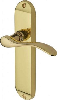 Heritage Maya Latch Door Handles MAY7610 Polished Brass Lacquered