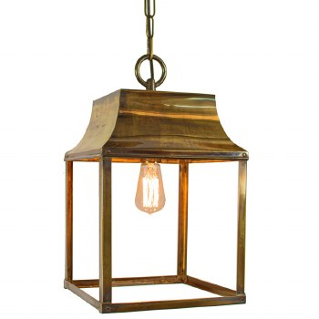 Strathmore Hanging Lantern Medium Renovated Brass
