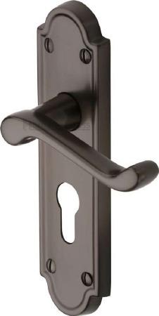 Heritage Meridian Euro Lock Door Handles V327 Matt Bronze