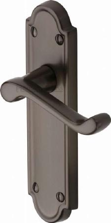Heritage Meridian Latch Door Handles V313 Matt Bronze