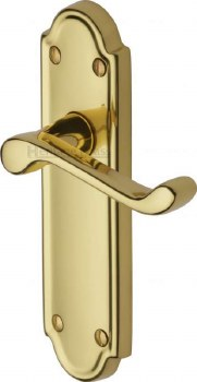 Heritage Meridian Latch Door Handles V313 Polished Brass Lacquered