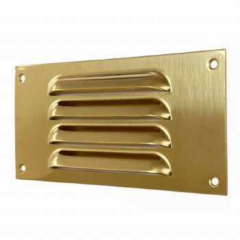 """Louvre Air Vent 6"""" x 3"""" Mini Polished Brass Unlacquered"""