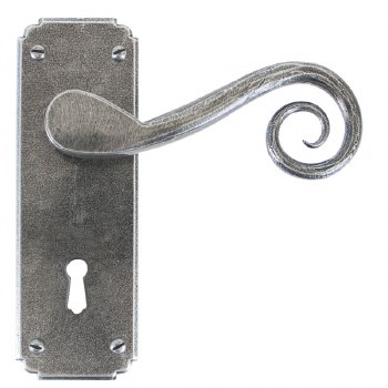 From The Anvil Monkeytail Door Handles Lock Plate Pewter Patina