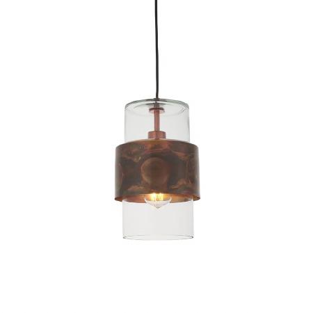Moreton Patina Pendant Copper & Clear Glass