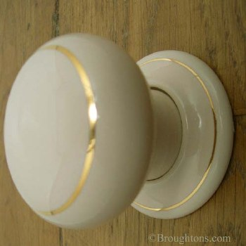 Porcelain Door Knobs Cream & Gold Line