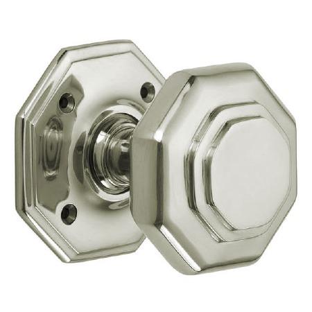 "Croft 4180 3"" Octagonal Door Knobs Polished Nickel"