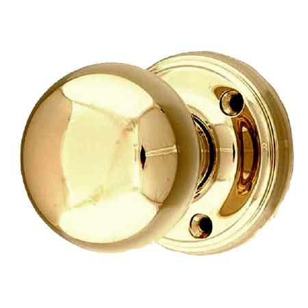 Victorian Constable 601 Door Knobs Polished Brass Unlacquered