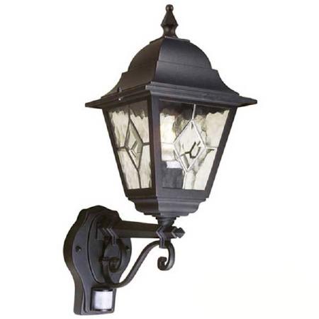 Elstead Norfolk Outdoor Wall Light Lantern With PIR Black