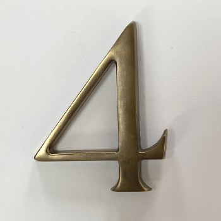 Aston Numeral 4 Pin Fix Antique Brass Unlacquered