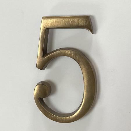 Aston Numeral 5 Pin Fix Antique Brass Unlacquered