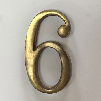 Aston Numeral 6 or 9 Pin Fix Antique Brass Unlacquered