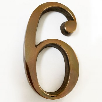 Aston Numeral 6 or 9 Pin Fix Polished Solid Bronze Antiqued