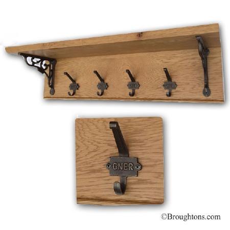 Oak Hook Board with Shelf and 4 GNER Iron Hooks 80cm