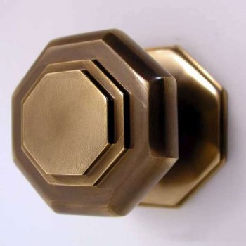Octagonal Cushion Centre Door Knob Antique Brass