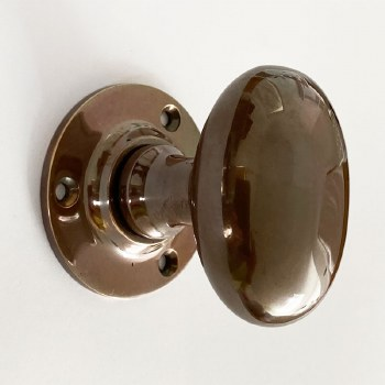 Aston Oval Door Knobs Polished Solid Bronze Antiqued 59mm