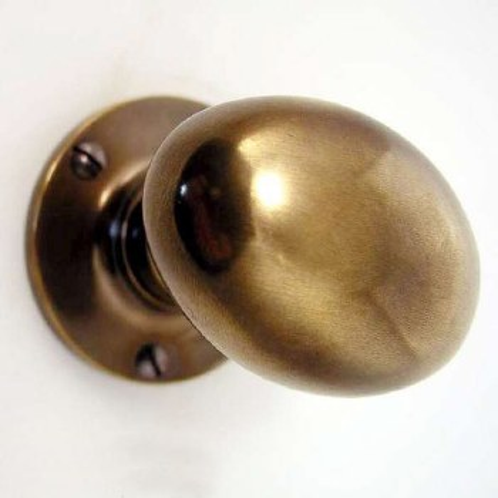 Oval Door Knobs Antique Brass Unlacquered