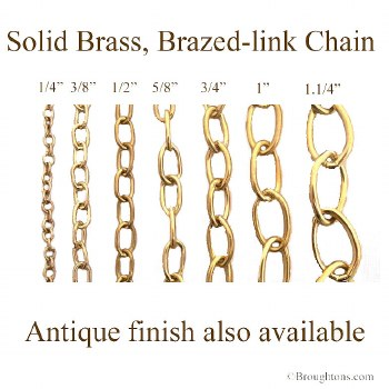 """Solid Brass Oval Link Chain 3/8"""" Brass"""