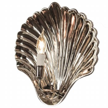 Oyster Wall Light Sconce Large Polished Nickel