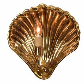 Oyster Wall Light Sconce Small Polished Brass Unlacquered