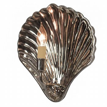 Oyster Wall Light Sconce Small Polished Nickel