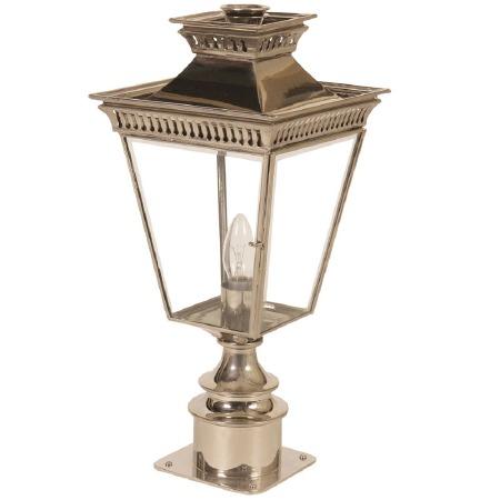 Pagoda Short Pedestal Lantern Nickel