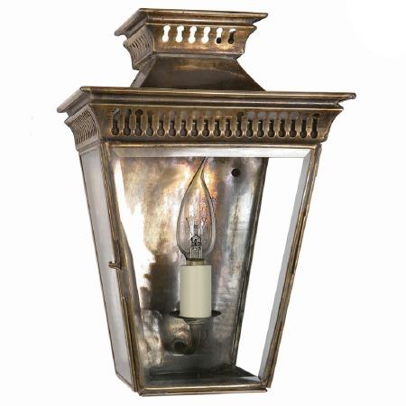Pagoda Flush Outdoor Lantern, Light Antique Brass