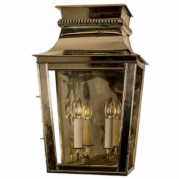 Parisienne Flush Outdoor Wall Light Large Polished Brass Unlacquered