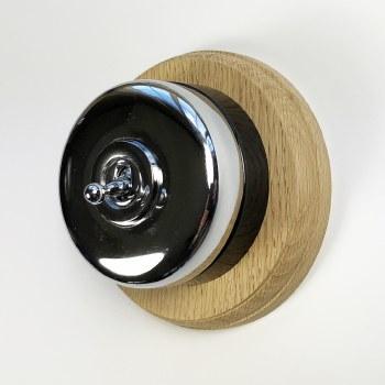 Round Dolly Light Switch & Circular Oak Base Polished Chrome & Black Mount