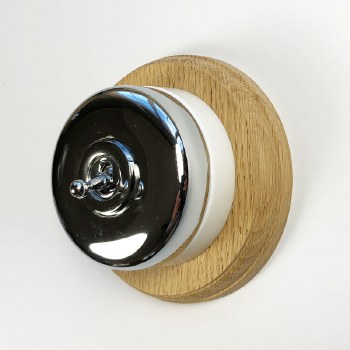 Round Dolly Light Switch on Circular Oak Base Chrome on White Mount