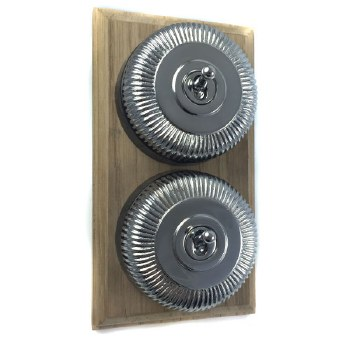 Reeded Round Dolly Light Switch on Wooden Base Polished Chrome 2 Gang