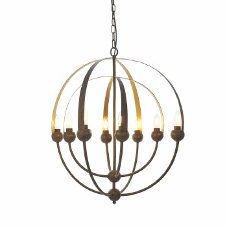 Peverell 8 Light Sphere Pendant Antique Bronze & Matt Gold