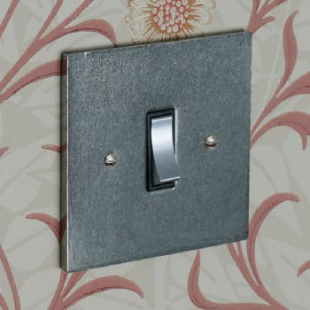Pewter Rocker Light Switch 1 Gang 2 Way