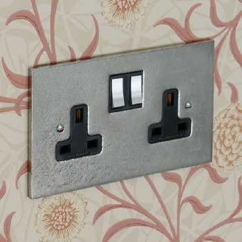 Pewter Switched Socket 2 Gang
