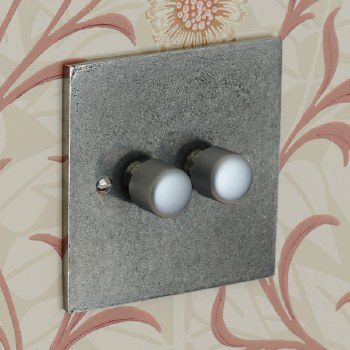 Pewter Dimmer Switch 2 Gang