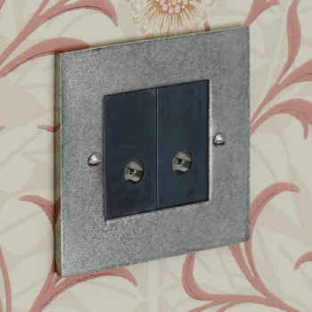 Pewter TV Socket Outlet 2 Gang