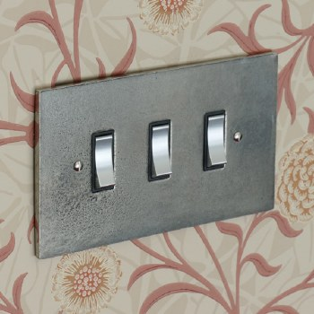 Pewter Rocker Light Switch 3 Gang