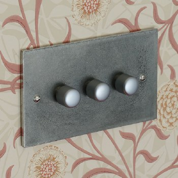 Pewter Dimmer Switch 3 Gang 400W