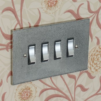 Pewter Rocker Light Switch 4 Gang