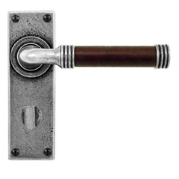 Finesse Jarrow Bathroom Door Handles FD052C Pewter & Chocolate Leather