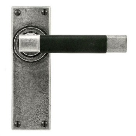 Finesse Jedburgh Door Latch Handles FD055B Pewter & Black Leather