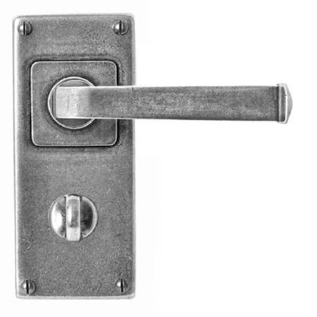 Finesse Allendale Bathroom Door Handles Jesmond Plate FD073 Solid Pewter